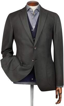 Charles Tyrwhitt Slim Fit Green Plain Italian Wool Flannel Wool Jacket Size 36