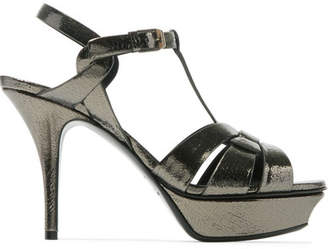 09920ba4a40 Saint Laurent Tribute Metallic Cracked-leather Platform Sandals - Gunmetal