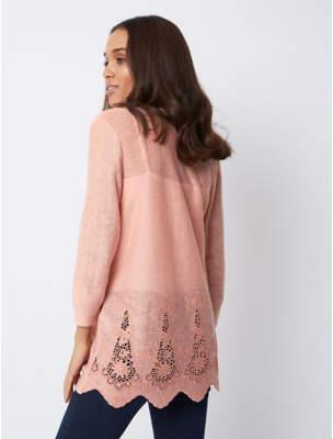 George Pink Crochet Trim Open Front Cardigan c1b0bb2cf