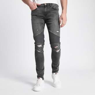 River Island Mens Grey Danny super skinny ripped biker jeans