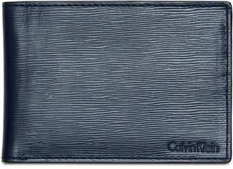 Calvin Klein Men Textured Leather Slimfold Wallet