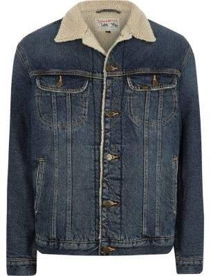 River Island Lee blue fleece collar denim jacket
