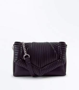 New Look Black Pleated Chain Shoulder Bag