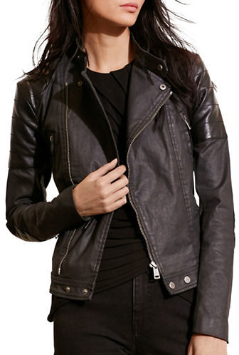 Lauren Ralph Lauren Coated Moto Jacket