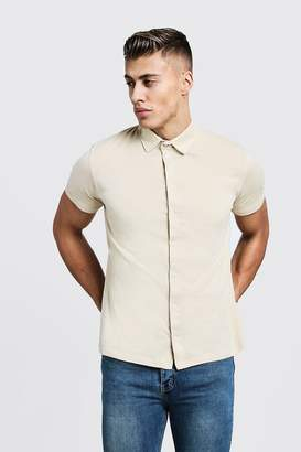 boohoo Short Sleeve Button Through Jersey Shirt