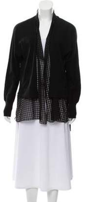 Fabiana Filippi Lightweight Cardigan w/ Plaid Inset Black Lightweight Cardigan w/ Plaid Inset