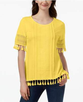 Charter Club Cotton Tassel-Trim Top, Created for Macy's