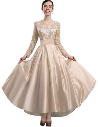 Ealafee Girls Long Champagne Sexy Lace Prom Gowns Evening Dress