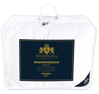 Triumph Hill White Goose Down Bed Comforter 100% Jacquard Cotton Case All Season Queen Size Machine Washable