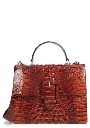 Brahmin Medium Francine Croc Embossed Leather Satchel
