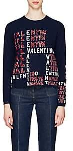 Valentino Women's Logo-Puzzle Wool-Cashmere Sweater - Blue