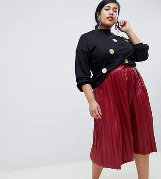 Lost Ink Plus Pleated Midi Skirt In Coated Jersey