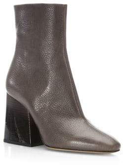 Maison Margiela Leather Chunky Heel Mid-Calf Boots