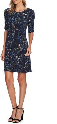 CeCe Ruched Sleeve Floral Vine Dress