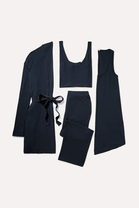 Skin - Ribbed Jersey Travel Set - Midnight blue