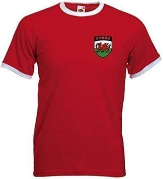 Invicta Sports Crazy Unisex Wales Welsh Cymru Rugby Crest National T Shirt Red/White Trim