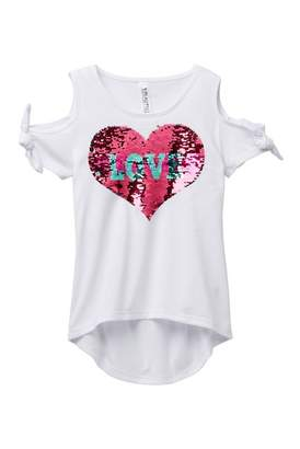 Beautees Reversible Sequin Heart Cold Shoulder Top (Big Girls)