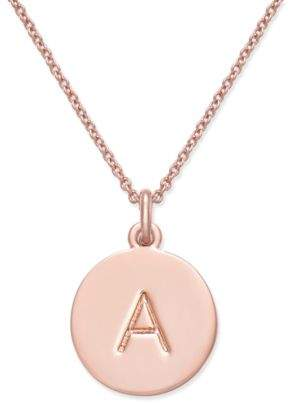 "Kate Spade Rose Gold-Tone Initial Disc Pendant Necklace, 18"" + 2 1/2"" Extender"