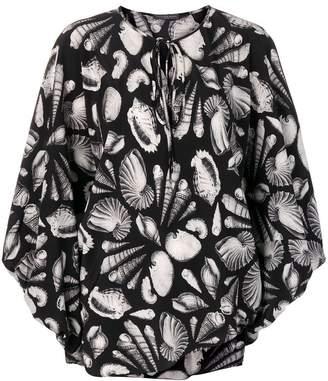 Alexander McQueen Shell print crepe tie blouse