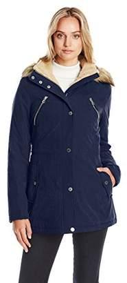 Nautica Women's Micro Fiber Parka Anorak with Hood/Faux Fur Trim $89.99 thestylecure.com
