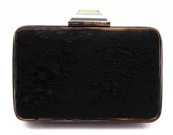 "Franchi Dulce"" Black Satin and Lace Clutch"