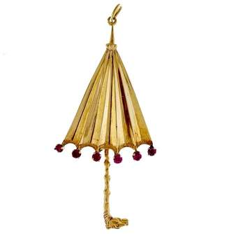 14K Yellow Gold with Red Horse Head Handle Umbrella Pendant Charm