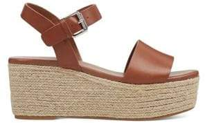 Nine West Leather Wedge Espadrille Ankle Sandals