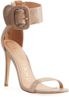 Carrano Natana Wet Patent Leather Buckle Strap Sandals