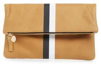Clare Vivier Center Stripe Leather Foldover Clutch