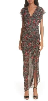 Veronica Beard Cecile Print Cold Shoulder Silk Dress