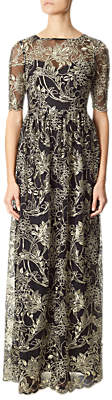 Adrianna Papell Embroidered Floral Illusion Neckline Dress, Black/Gold