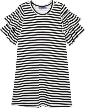 Truly Me Stripe Ruffle Sleeve Dress