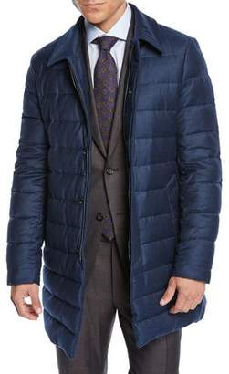 Canali Men's Long Down Quilted Coat