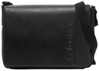Calvin Klein Logo Faux Leather Messenger Bag