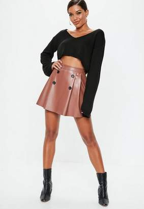 Missguided Toffee PU Button Pleated Mini Skirt, Toffee