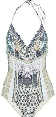 Camilla Weave On Crystal-Embellished Printed Halterneck Swimsuit