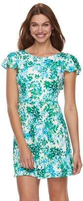 Petite Suite 7 Floral Ruffle V-Back Dress