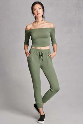 FOREVER 21+ Ribbed Knit Drawstring Pants $28 thestylecure.com