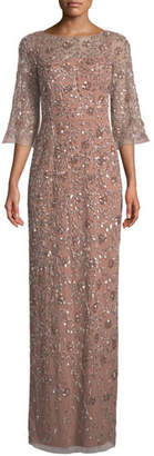 Aidan Mattox V-Back Beaded Column Gown