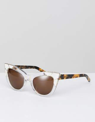 Cat Eye Pared Sunglasses Pared Sunglasses In White & Gold