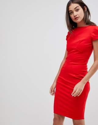 Closet London Closet pencil dress with ruched cap sleeve