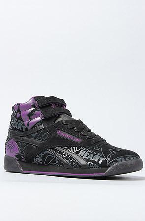Reebok The Alicia Keys x Freestyle Hi Sneaker in Black Reptile and Plum