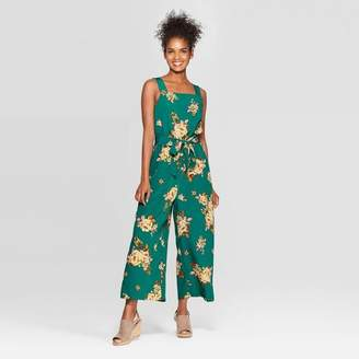 Xhilaration Women's Floral Print Sleeveless Square Neck Tie Waist Jumpsuit Teal