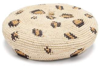 Sensi Studio - Leopard Woven Straw Beret - Womens - Leopard