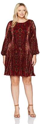 Tiana B Women's Plus Size Printed Pleated a-Line Dress