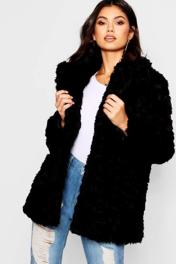 Textured Collared Faux Fur Coat