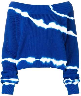 MSGM off shoulder tie-dye sweater