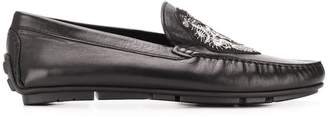 Roberto Cavalli embroidered logo loafers