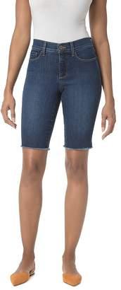 NYDJ Petites Briella Frayed Denim Bermuda Shorts in Cooper