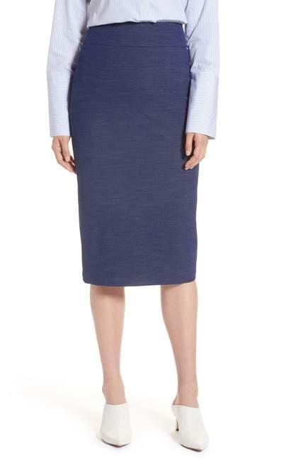 Halogen High Waist Chambray Skirt (Petite)